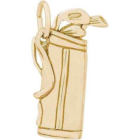 Gold Plate Golf Clubs Charm by Rembrandt Charms
