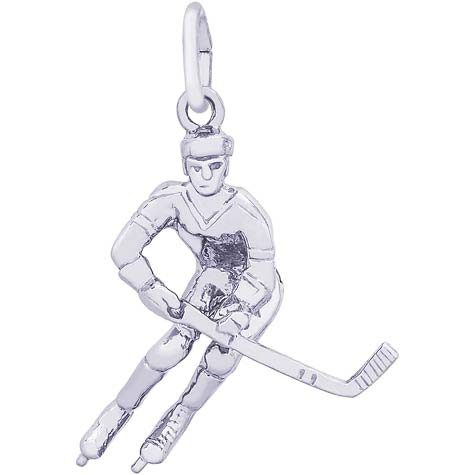 14K White Gold Male Hockey Player Charm by Rembrandt Charms