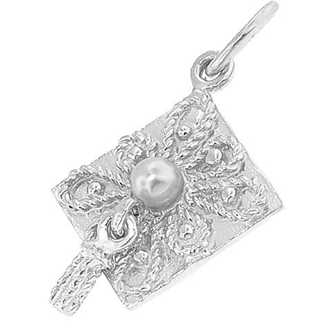14k White Gold Ornate Graduation Cap Charm by Rembrandt Charms