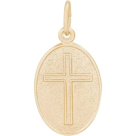 14K Gold Cross Oval Disc Charm by Rembrandt Charms