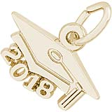 Gold Plate 2018 Large Graduation Cap Charm