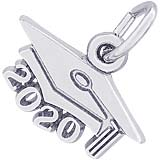 14K White Gold 2020 Graduation Cap Large Charm