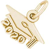 Gold Plate 2020 Large Graduation Cap Charm