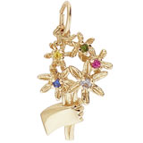 10K Gold A Bouquet Charm