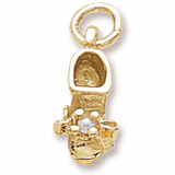 14K Gold Pearl Baby Bootie Accent Charm by Rembrandt Charms