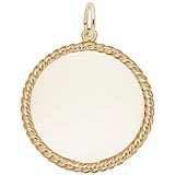 10K Gold Medium Rope Disc Charm by Rembrandt Charms