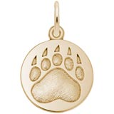 Gold Plate Bear Paw Print Charm by Rembrandt Charms