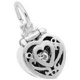 14K White Heart Engagement Ring Box Charm by Rembrandt Charms