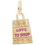14K Gold Love To Shop Bag Charm by Rembrandt Charms