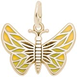 Gold Plated Painted Wings Butterfly Charm by Rembrandt Charms