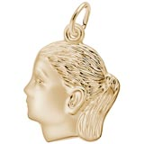 Gold Plate Girl's Head Charm by Rembrandt Charms