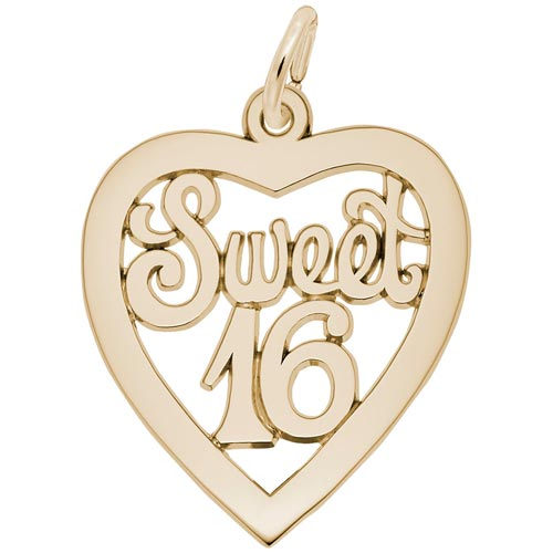 Gold Plate Sweet Sixteen Open Heart Charm by Rembrandt Charms