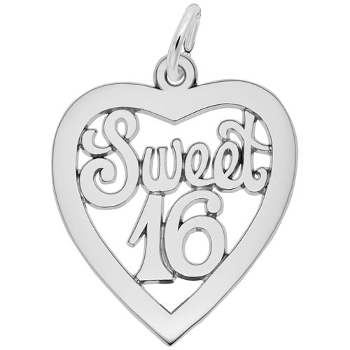 Sterling Silver Sweet Sixteen Open Heart Charm by Rembrandt Charms