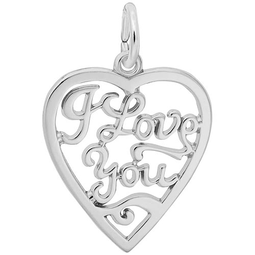 Sterling Silver I Love You Open Heart Charm by Rembrandt Charms