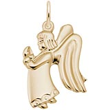 14k Gold Flat Praying Angel Girl Charm by Rembrandt Charms