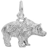 14k White Gold Grizzly Bear Charm by Rembrandt Charms