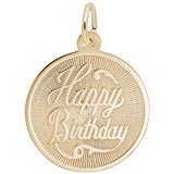 10K Gold Happy Birthday Disc Charm