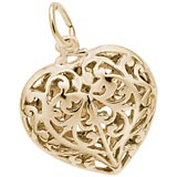 14k Gold Filigree Heart Charm by Rembrandt Charms