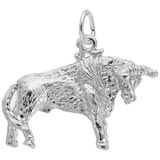 14K White Gold Bull Charm by Rembrandt Charms