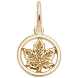 10K Gold Ringed Maple Leaf Accent Charm by Rembrandt Charms