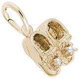 Gold Plate Pearl Baby Booties Accent Charm by Rembrandt Charms
