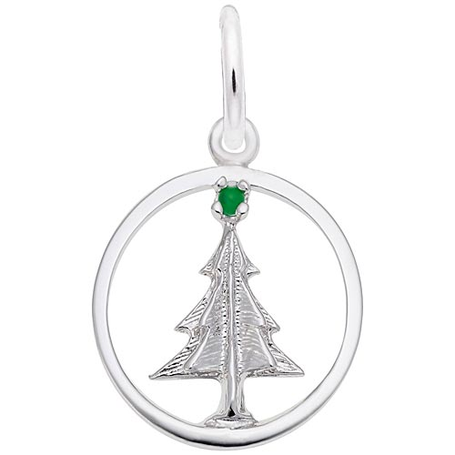 Sterling Silver Christmas Tree Circle Charm by Rembrandt Charms