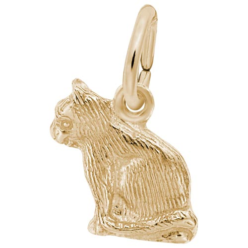 14k Gold Sitting Cat Accent Charm by Rembrandt Charms
