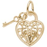 14k Gold Filigree Heart and Key Charm by Rembrandt Charms