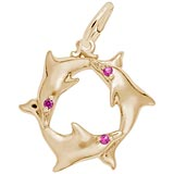 Gold Plated Dolphins with Red Stones Charm by Rembrandt Charms