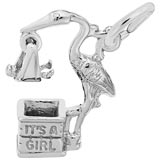 14k White Gold Stork It's a Girl Charm by Rembrandt Charms