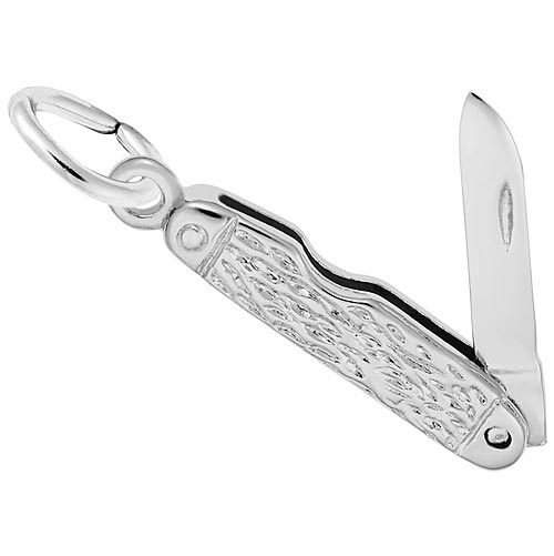 14K White Gold Pocket Knife Charm Pendant by Rembrandt Charms