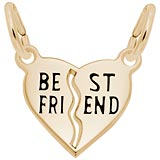 Gold Plated Best Friends Shared Heart Charm by Rembrandt Charms