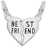 14k White Gold Best Friends Shared Heart Charm by Rembrandt Charms