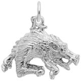 14K White Gold Wild Boar Charm by Rembrandt Charms