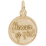 14K Gold Flower Girl Disc Charm
