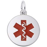 Sterling Silver Medical Alert (red) Charm by Rembrandt Charms