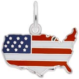 Sterling Silver USA Map Red White and Blue Charm