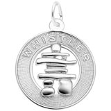 14K White Gold Whistler Inukshuk Charm by Rembrandt Charms